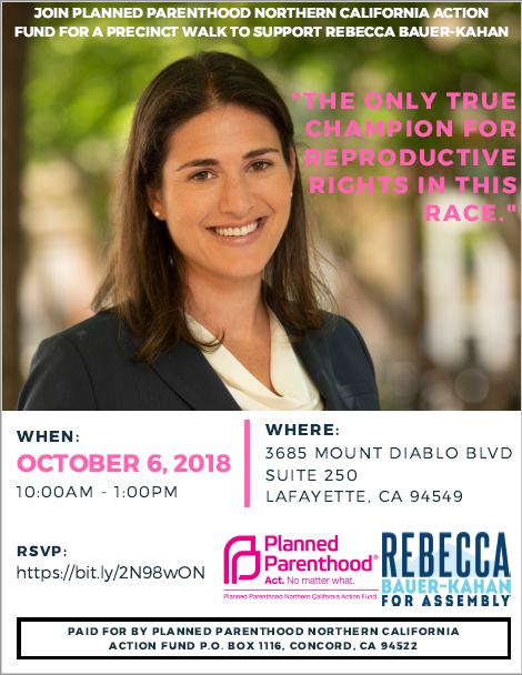 Precinct Walk to Support Rebecca Bauer-Kahan - Partnering With Planned Parenthood @ Lafayette | California | United States