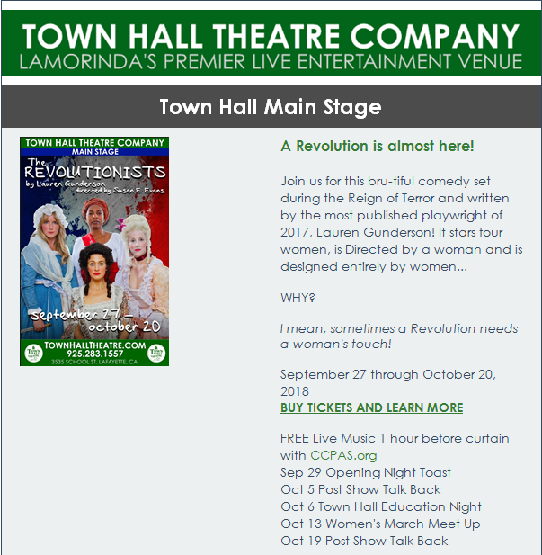 "Town Hall Theatre Company ""The Revolutionists"" @ Town Hall Theatre Company 
